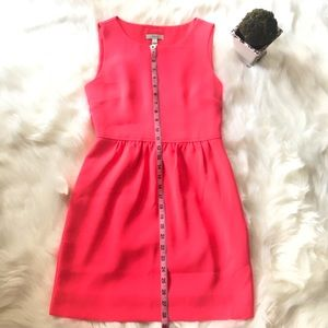 J Crew Petite Camille Dress In Bright Coral/Pink
